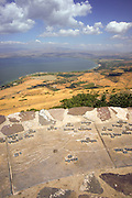 Israel, Golan Heights observation point , View of the Sea of Galilee with a map in the foreground