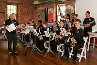 Debbie Gibson with the LHS Jazz Band performing for Laconia Rotary at the Belknap Mill on Thursday afternoon.  (Karen Bobotas/for the Laconia Daily Sun)