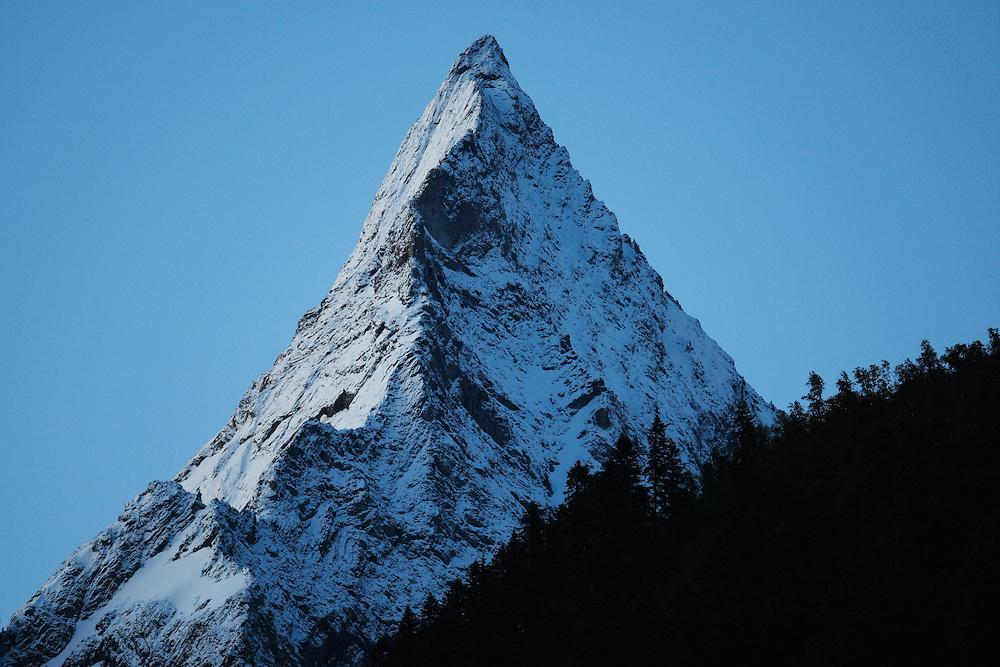 Russia, Caucasus, Teberdinsky Biosphere reserve, impressive Mount Belalakaya (3861 m asl) near Dombay