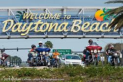 Speedway Boulevard (92) across from Daytona International Speedway during Daytona Bike Week. FL., USA. March 9, 2014.  Photography ©2014 Michael Lichter.