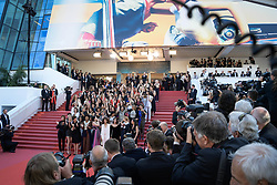 Cate Blanchett with other filmmakers reads a statement on the steps of the red carpet in protest of the lack of female filmmakers honored throughout the history of the festival at the premiere of the film Les Filles du Soleil during the 71st Cannes Film Festival in Cannes, France on May 12, 2018. Photo by Julien Zannoni/APS-Medias/ABACAPRESS.COM