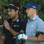 Jason Day, (left) and Jordan Spieth, USA, during The Barclays Golf Tournament at The Plainfield Country Club, Edison, New Jersey, USA. 27th August 2015. Photo Tim Clayton