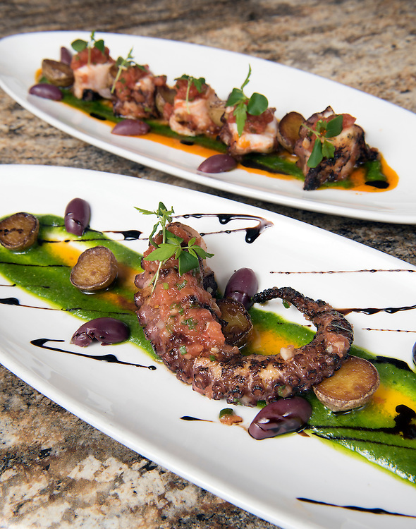 May 24, 2016 Middletown<br /> Bread & Water restaurant. The Pulpo served two ways: grilled octopus, imported olives, tomato confit, crispy new potatoes, arugula pesto.