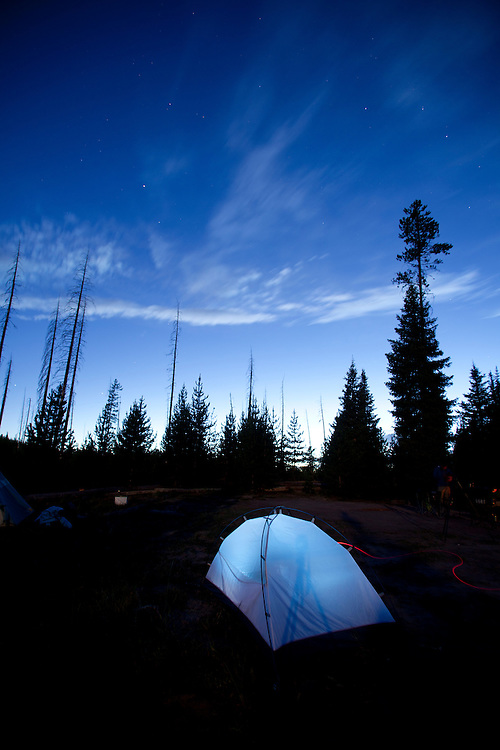 Tent shot of camoing in Yellowstone National Park, WY.