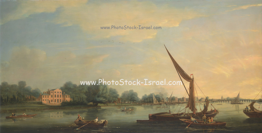 The Thames at Chelsea By Thomas Whitcombe (possibly 19 May 1763 – c. 1824) was a prominent British maritime painter of the Napoleonic Wars. Among his work are over 150 actions of the Royal Navy, and he exhibited at the Royal Academy, the British Institution and the Royal Society of British Artists. His pictures are highly sought after today.
