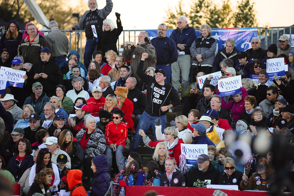 LAURA FONG   DAILY KENT STATER  crowd of nearly 12,000 await U.S Presidential candidate Mitt Romney.  The crowd chanted 'usa! usa! usa!'.