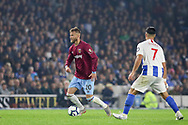 West Ham United forward Andriy Yarmolenko (20) takes on Brighton and Hove Albion midfielder Beram Kayal (7) during the Premier League match between Brighton and Hove Albion and West Ham United at the American Express Community Stadium, Brighton and Hove, England on 5 October 2018.