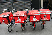 KFC delivery bikes parked outside a store in Shanghai, China on 20 May 2010. Yum! brands, the parent company of KFC, is opening up one KFC outlet in China everyday in a race to cash in on the country's explosive growth.
