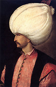Suleiman I (1494-1566) Sultan of the Ottoman Empire from 1520, known in the West as Suleiman the Magnificent and in the East as the Lawmaker. Head-and-shoulders profile portrait c1530 attributed to school of Titian.