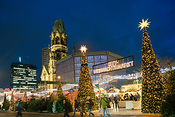 Traditional Christmas Market at night at Breitscheidplatz in 2017 in Berlin, Germany