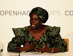 Dec. 15, 2009 - COPENHAGEN, Denmark - (091215) -- COPENHAGEN, Dec. 15, 2009 (Xinhua) -- Wangari Muta Maathai, Nobel Peace Prize Laureate of 2004, attends a new conference in Copenhagen, Denmark, Dec. 15, 2009. UN Secretary General Ban Ki-moon announced on Monday the appointment of Nobel Peace Prize Laureate Wangari Muta Maathai as UN Messenger of Peace on climate change issues. (Credit Image: © Xinhua via ZUMA Wire)