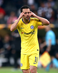Chelsea's Pedro reacts on the pitch during the UEFA Europa League Semi final, first leg match at The Frankfurt Stadion, Frankfurt.