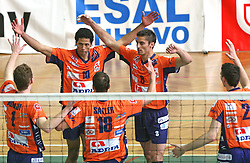 Players of ACH Volley (Urnaut, Thomas, Satler, Cuturic, Pajenk) celebrating at 4th and final match of Slovenian Voleyball  Championship  between OK Salonit Anhovo (Kanal) and ACH Volley (from Bled), on April 23, 2008, in Kanal, Slovenia. The match was won by ACH Volley (3:1) and it became Slovenian Championship Winner. (Photo by Vid Ponikvar / Sportal Images)/ Sportida)