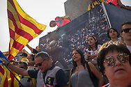 Manifestation agains Spanish police intervention last year during the independency referendum. The Diada in Barcelona, the 11th of September is the Catalan day and many manifestation have been held in the Catalan Capital, including many demontration asking independecy from Spain and liberation of separatis polititians incarcerated after helding an inllegal unilateral referendum last year. Barcelona, Spain. September 11th, 2018.
