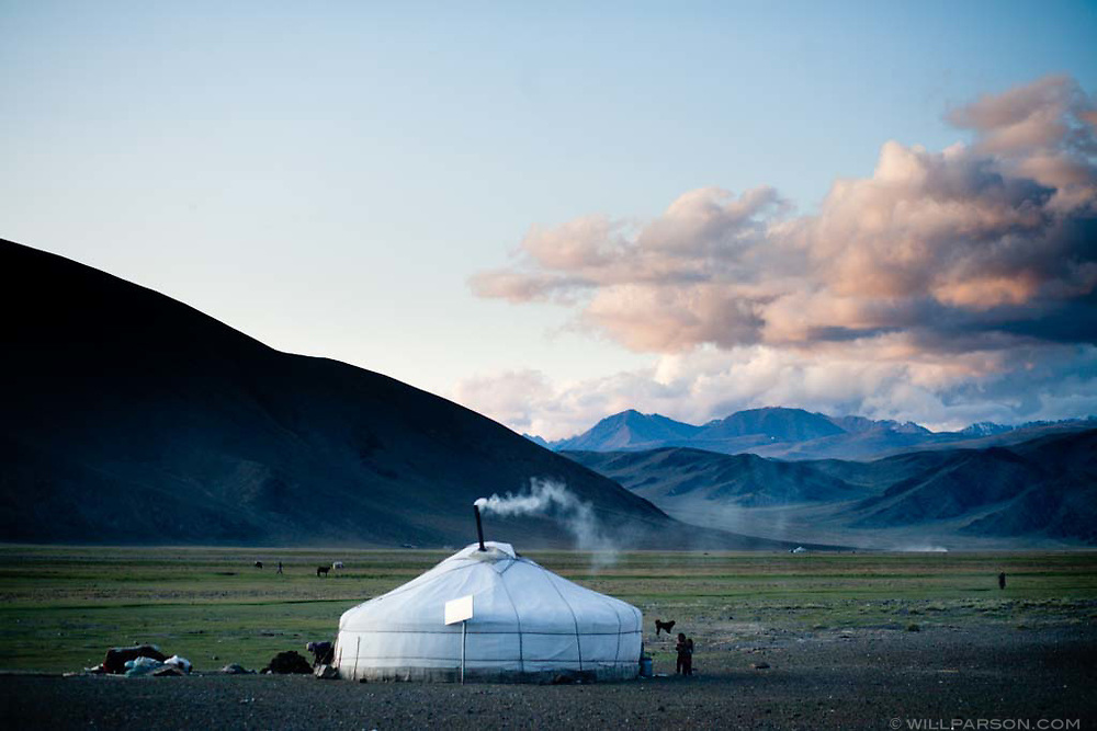 Bayan-Ölgii Province in western Mongolia. The ger is a traditional dwelling used by the nomadic herders of Mongolia.