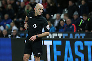 referee Roger East in action. Premier league match, Swansea city v Southampton at the Liberty Stadium in Swansea, South Wales on Tuesday 31st January 2017.<br /> pic by  Andrew Orchard, Andrew Orchard sports photography.