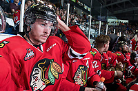 KELOWNA, CANADA - MAY 1: Paul Bittner #7 of Portland Winterhawks sits on the bench against the Kelowna Rockets during game 5 of the Western Conference Final on May 1, 2015 at Prospera Place in Kelowna, British Columbia, Canada.  (Photo by Marissa Baecker/Getty Images)  *** Local Caption *** Paul Bittner;