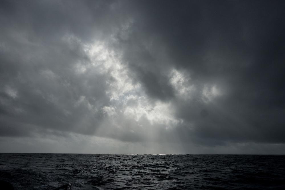 November, 2014. Leg 2 onboard Team SCA. The sun breaks through on a grey day.
