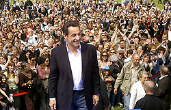 UMP presidential candidate Nicolas Sarkozy supported by Michele Allliot-Marie and Francois Fillon holds a political meeting and delivers his speech in a park of Aix en Provence, south of France on April 15, 2007. Photo by Patrick Bernard/ABACAPRESS.COM