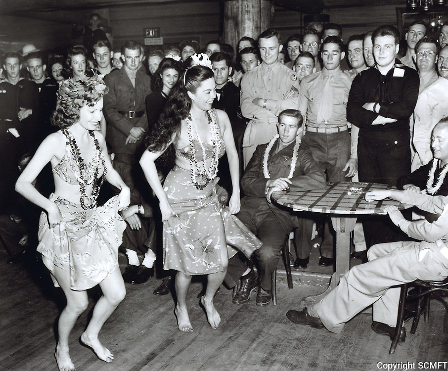 1944 Hostesses dance the Hula for the servicemen at the Hollywood Canteen