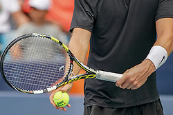 August 15, 2018 - Mason, Ohio, USA - Adrian Mannarino (FRA) prepares to serve during Wednesday's second round of the Western and Southern Open at the Lindner Family Tennis Center, Mason, Oh. (Credit Image: © Scott Stuart via ZUMA Wire)