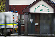 Police ammunition technical officers are seen at the Ormeau Golf Club due to a security alert near Ormeau Road in Belfast on Friday, April 23, 2021. A suspicious object was found. Police said that the object was discovered in the area around Ormeau Golf Club. (Photo/ Vudi Xhymshiti)