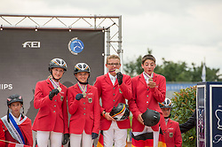 Team Germany bronze medal<br /> Max Haunhorst, Beeke Carstensen, Laura Hetzel, Marec Daenekas, Britt Roth<br /> FEI European Jumping Championship for children <br /> Arezzo 2014<br /> © Hippo Foto - Stefano Secchi