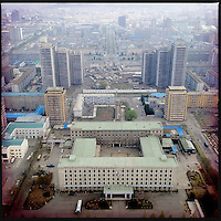 A view over downtown Pyongyang from the top of the Juche Tower in North Korea.