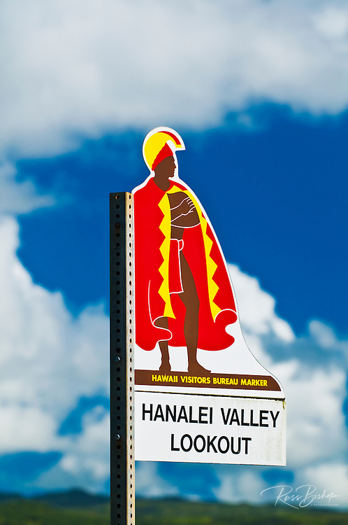 The Hawaii Visitors Bureau sign at Hanalei Valley Lookout, Island of Kauai, Hawaii