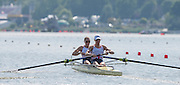 Poznan, POLAND. GBR W2-, Bow Helen GLOVER and Heather STANNING, 2015 FISA European Rowing Championships. Venue, Lake Malta. Saturday 30.05.2015. [Mandatory Credit: Peter Spurrier/Intersport Images] .   Empacher.