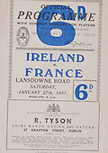 Rugby 27/01/1951 Five Nations Irealdn Vs France