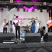 Signal - House Band perfroms at the Feast of St George to celebrate English culture with music and English food stalls in Trafalgar Square on 20 April 2019, London, UK.