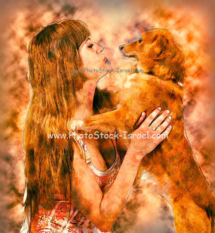 Digitally enhanced image of Human and Dog face to face