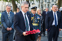 Whitehall, London, August 28th 2015.  Six wreaths are laid at the Cenotaph by representatives from the Armed Forces, the RFL, the Parliamentary Rugby League Group and Ladbrokes Challenge Cup finalists Hull Kingston Rovers and Leeds Rhinos, ahead of Saturday's Ladbrokes Challenge Cup Final at Wembley. PICTURED: Greg Mulholland MP, the chairman of the Parliamentary Rugby League Group.