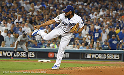 October 24, 2017 - Los Angeles, California, U.S. - Los Angeles Dodgers relief pitcher Kenley Jenson throws to the plate against the Houston Astros in the ninth inning of game one of a World Series baseball game at Dodger Stadium on Tuesday, Oct. 24, 2017 in Los Angeles. Dodgers won 3-1. (Photo by Keith Birmingham, Pasadena Star-News/SCNG) (Credit Image: © San Gabriel Valley Tribune via ZUMA Wire)
