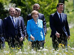 07.06.2015, Schloss Elmau, Krün, GER, G7 Gipfeltreffen auf Schloss Elmau, im Bild Angela Merkel beim Spaziergang mit Barack Obama und David Cameron, links Donald Tusk // during the G7 summit at Schloss Elmau in Krün, Germany on 2015/06/07. EXPA Pictures © 2015, PhotoCredit: EXPA/ SM<br /> <br /> *****ATTENTION - OUT of GER*****