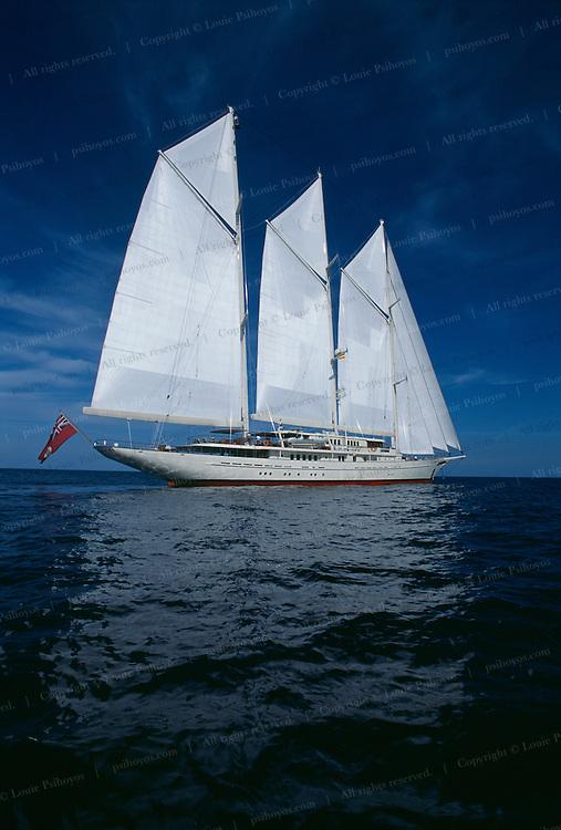 Athena, a three masted schooner,  built by the Royal Huisman Shipyard of Vollenhove, Holland.