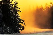 Snowboarder in the mist