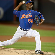 NEW YORK, NEW YORK - SEPTEMBER 26:    Pitcher Rafael Montero #50 of the New York Mets pitching during the Atlanta Braves Vs New York Mets MLB regular season game at Citi Field, Flushing, Queens, on September 26, 2017 in New York City. (Photo by Tim Clayton/Corbis via Getty Images)