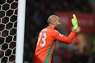 Lee Grant, the Stoke city goalkeeper looks on.Premier league match, Stoke City v Manchester Utd at the Bet365 Stadium in Stoke on Trent, Staffs on Saturday 21st January 2017.<br /> pic by Andrew Orchard, Andrew Orchard sports photography.