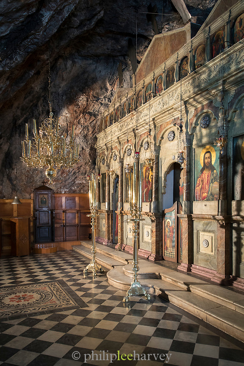 Polyptych in chapel carved in rock at Monastery of Agios Menas, Neohori, Chios, Greece
