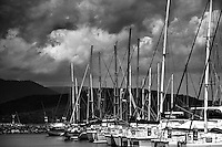 A thunderstorm moves passes over the Airlie Beach marina, gateway to the Whitsunday Islands, Queensland.