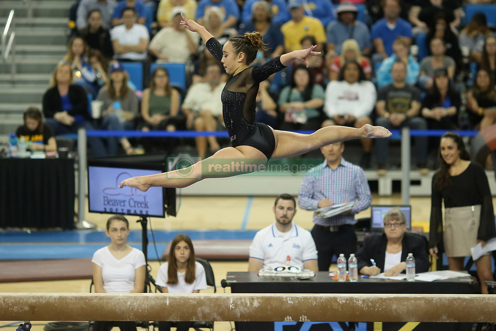 March 12, 2017 - Los Angeles, California, U.S - UCLA sophomore Katelyn Ohashi's perfect 10 on the balance beam helped pushed the home team to victory in NCAA women's gymnastics versus North Carolina, March 12, 2017 (Los Angeles, California). The Plano, Texas native was a four-year member of the USA National Team. (Credit Image: © Jeremy Breningstall/ZUMA Wire)