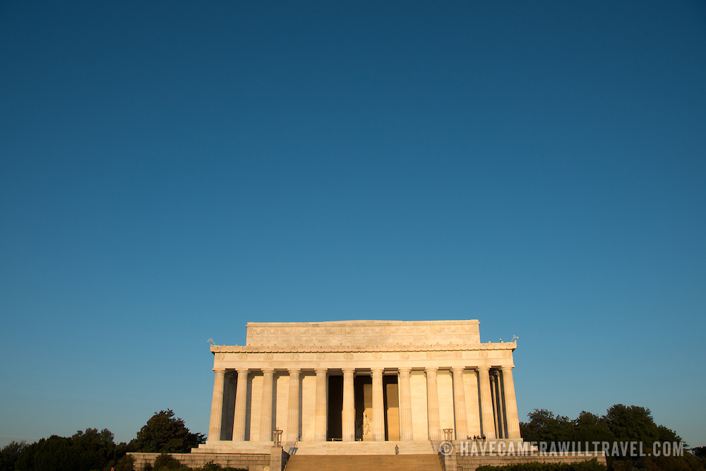 The Lincoln Memorial in the early morning light on a crisp fall day in Washington DC.
