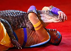 September 15, 2016 - Kiev, Ukraine - An Ukrainian National Circus artist performs with a crocodile during the presentation of the new show program  ''Extreme Arena'' at the Ukrainian National Circus in Kiev, Ukraine, 15 September,2016. The show will be staged from 15 September to 11 December 2016. (Credit Image: © Str/NurPhoto via ZUMA Press)