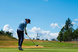 Gleneagles, Scotland, UK; 9 August, 2018.  Day two of European Championships 2018 competition at Gleneagles. Men's and Women's Team Championships Round Robin Group Stage - 2nd Round. Four Ball Match Play format. Celine Herbin of France tees of on the 18th hole
