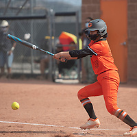 Adrianna Lynn (99) bats for the Gallup Bengals during their varsity softball game against the Bernalillo Spartans Tuesday in Gallup.