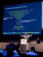 Robert Pepper, Cisco VP Global Tech delivers his presentation to the plenary at the at the  IETF conference held at Les Palais des Congres de Paris, Paris, France.