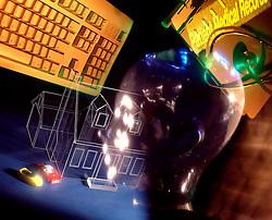 design abstract collage glass head computer keyboard house car CONCEPT STOCK PHOTOS CONCEPT STOCK PHOTOS