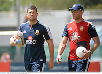 31 May 2013; Rob Kearney, British & Irish Lions, with physiotherapist Bob Stewart during the captain's run ahead of their game against Barbarian FC on Saturday. British & Irish Lions Tour 2013, Squad Captain's Run, Aberdeen Sports Ground, Aberdeen, Hong Kong, China. Picture credit: Stephen McCarthy / SPORTSFILE